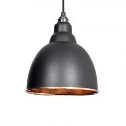 Brindley Pendant - Black Exterior with Hammered Copper Interior
