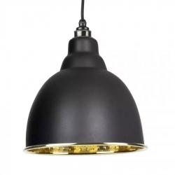 Brindley Pendant - Black Exterior with Hammered Brass Interior