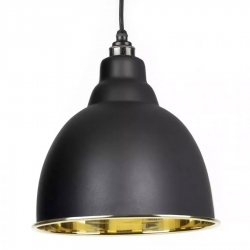 Brindley Pendant - Black Exterior with Smooth Brass Interior