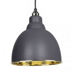 Brindley Pendant - Dark Grey Exterior with Smooth Brass Interior
